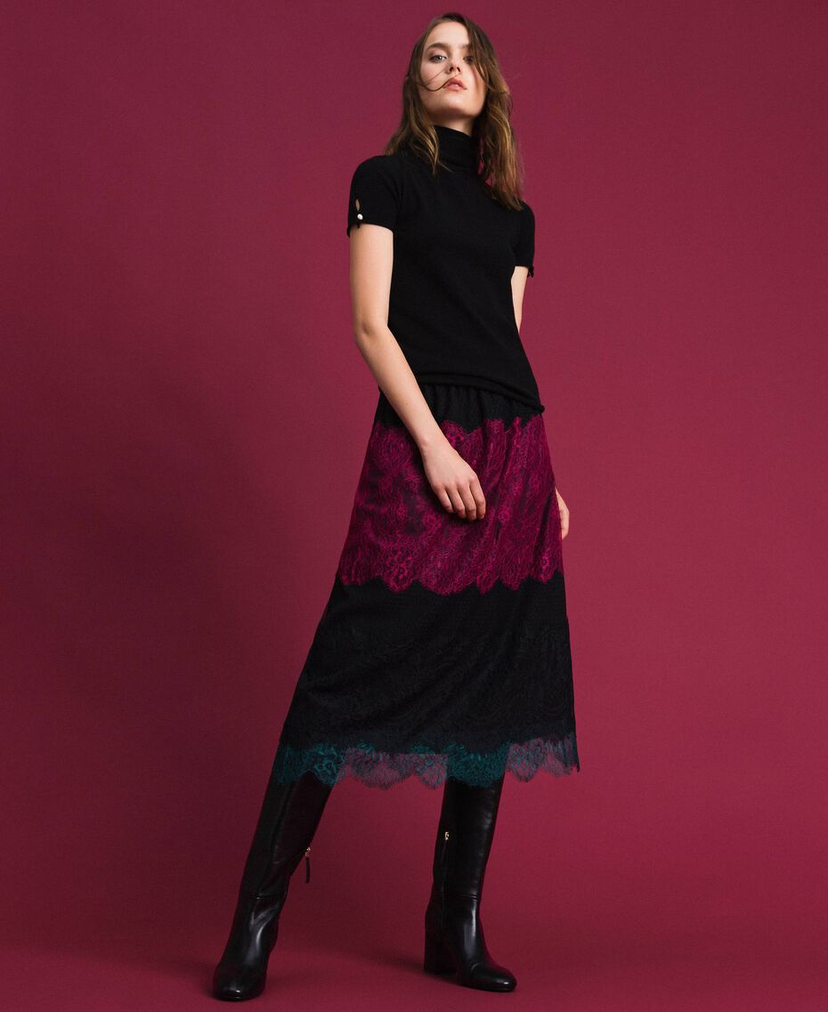 Colour block lace midi skirt Block Colour Woman 192TP2704-02