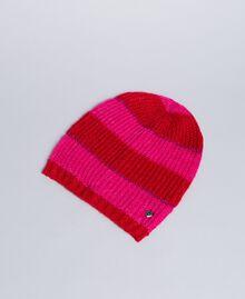 "Two-tone striped hat Bicolour ""Poppy"" Red / ""Cerise"" Fuchsia Woman RA8T2K-01"