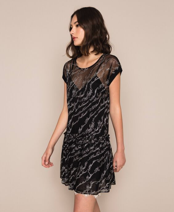 Tulle dress with embroidered logo