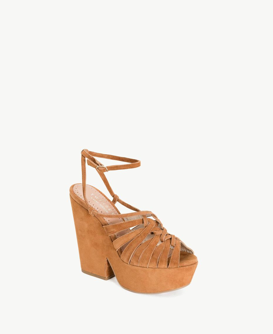TWINSET Suede sandals Leather Brown Woman CS8TCA-02