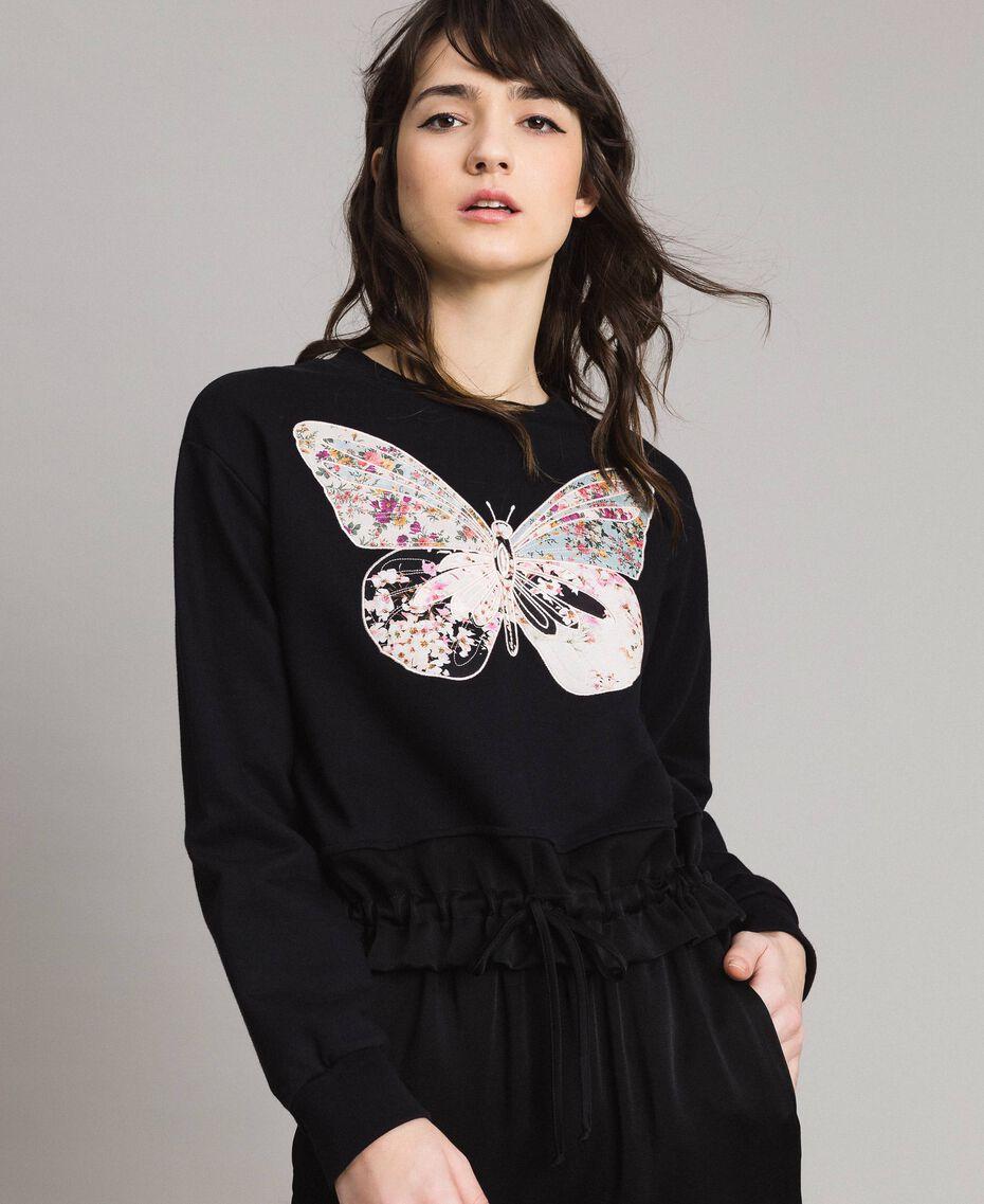 Sweatshirt mit Stickschmetterling Schwarz Frau 191TP2594-02