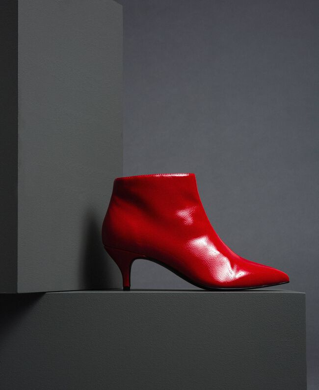 Patent leather ankle boots Poppy Red Woman 192MCT052-01