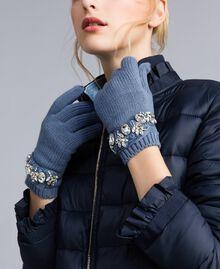 Strickhandschuhe mit Stickerei mit Strass Blau pulver Frau AA8P5H-0S