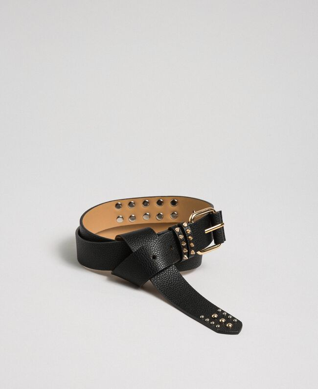 Studded leather belt, regular Black / Leather Woman 192TA4305-01