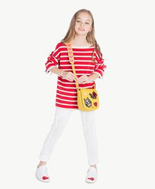 Striped maxi pullover Pomegranate Red / Chantilly Stripes / Flower Print Child GS83BA-05