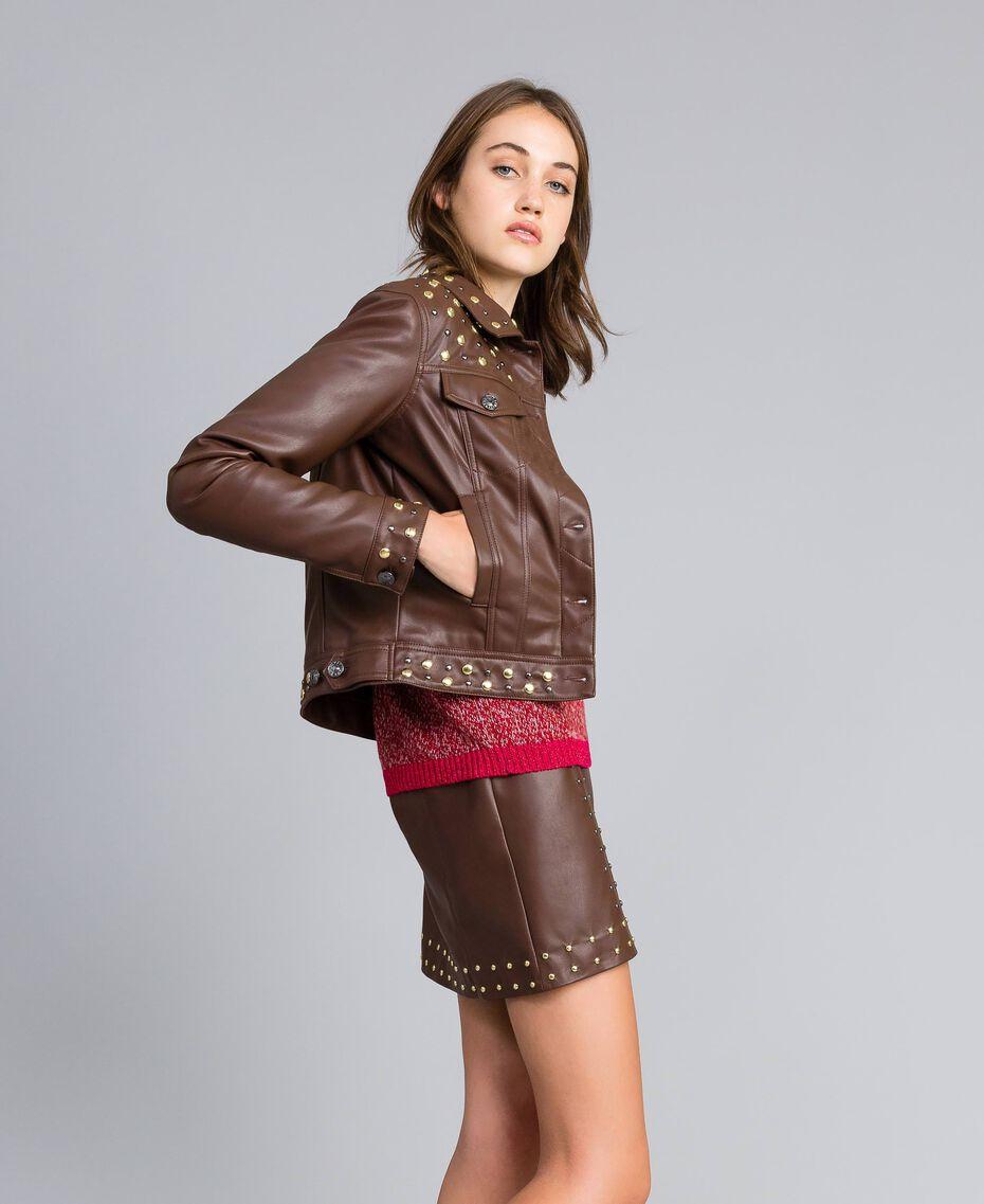 Veste en similicuir avec clous Bordeaux Acajou Femme YA82BC-02