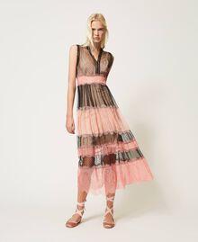 Robe longue en tulle et dentelle Bicolore Noir / Rose «Pêche Blossom» Femme 202TP2202-01
