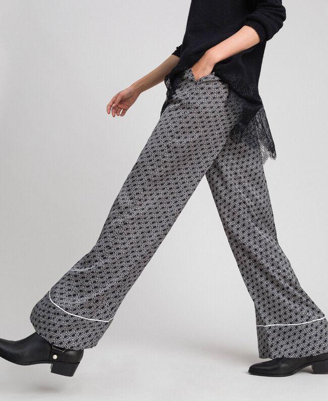 """Logo print palazzo trousers Black / """"Snow"""" White Logo Print Woman 192TP2589-03"""