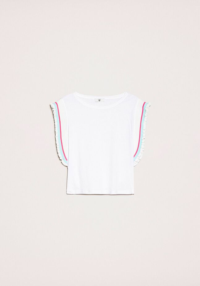 T-shirt avec rayures multicolores