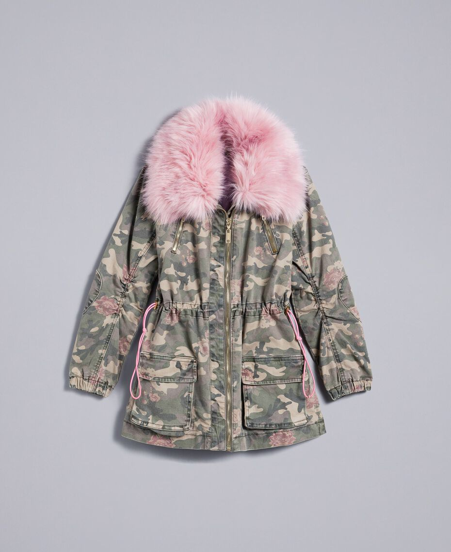 Parka in canvas stampato Stampa Camouflage Bambina GA82EA-01