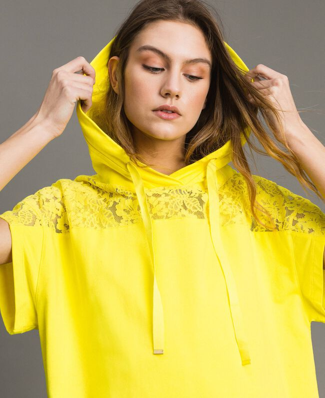Maxi sweatshirt with hood and lace Fluorescent Yellow Woman 191MT2340-01
