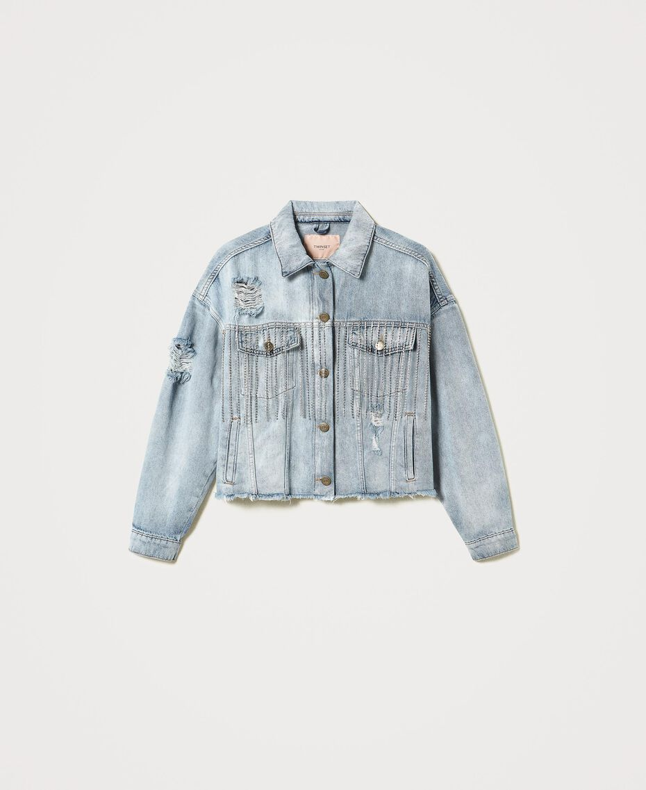 Denim jacket with bezel fringes Denim Woman 211TT2380-0S