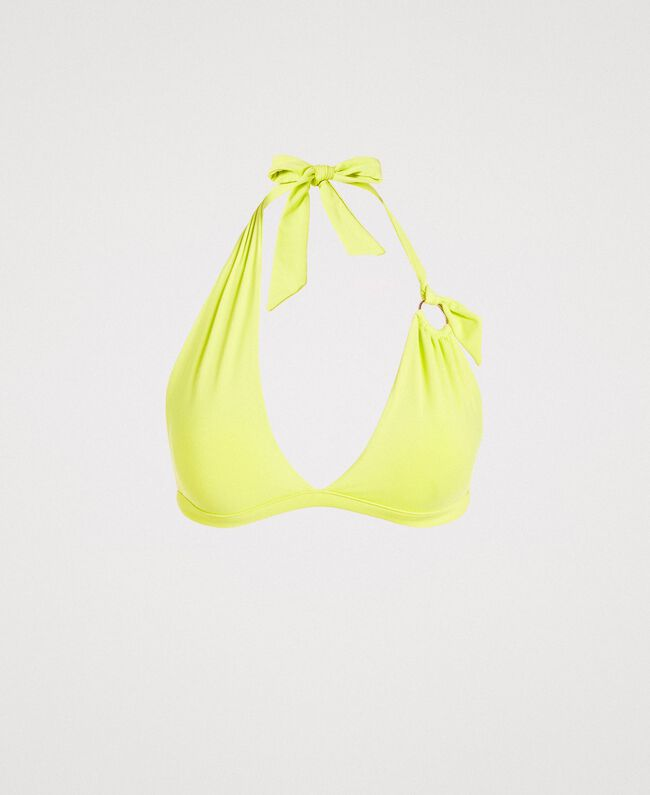 "Asymmetric triangle bikini top ""Lemon Juice"" Yellow Woman 191LBM233-01"