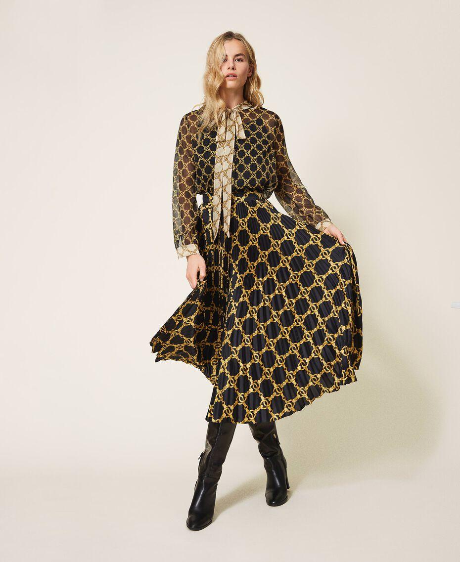 Creponne shirt with chain print Black / Ivory Large Chain Print Woman 202TT221D-02