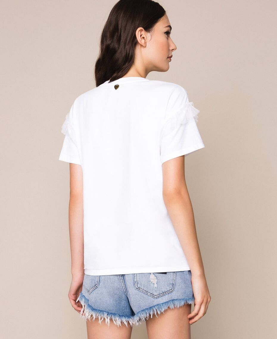 T-shirt with embroidered tulle White Woman 201TP2061-03
