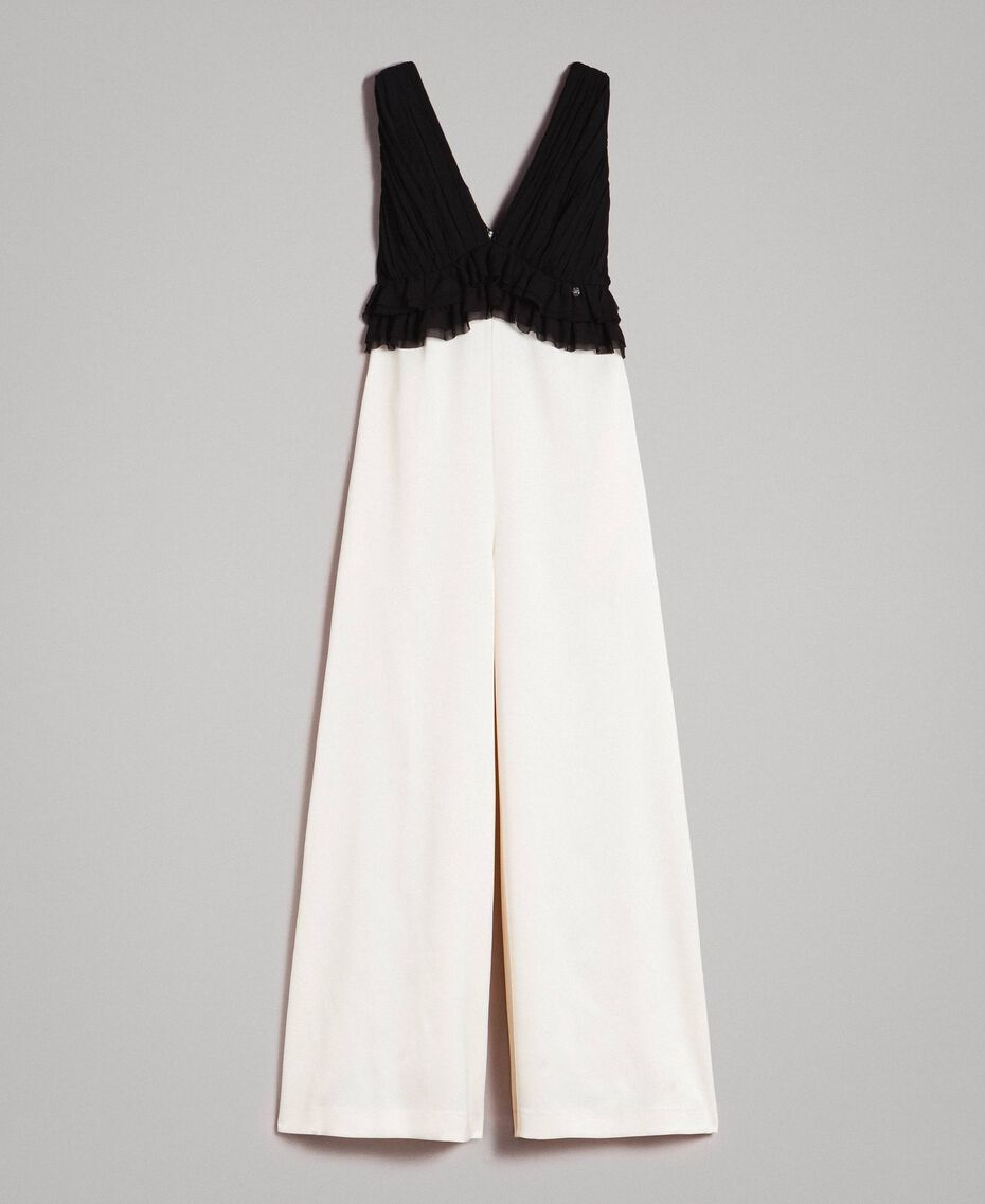 Two-tone satin and georgette jumpsuit Two-tone Ecru / Black Woman 191ST2191-0S