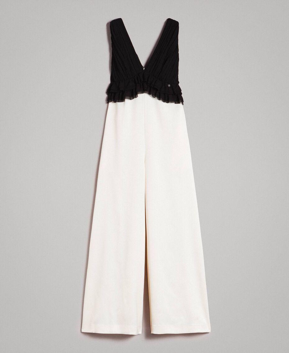Combinaison bicolore en satin et georgette Bicolore Écru / Noir Femme 191ST2191-0S