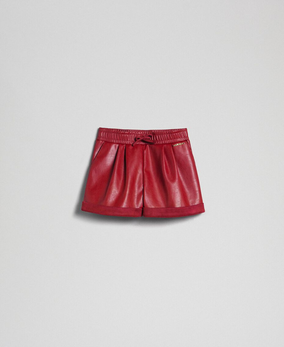 Shorts in similpelle Rosso Ruby Wine Bambina 192GJ2012-0S