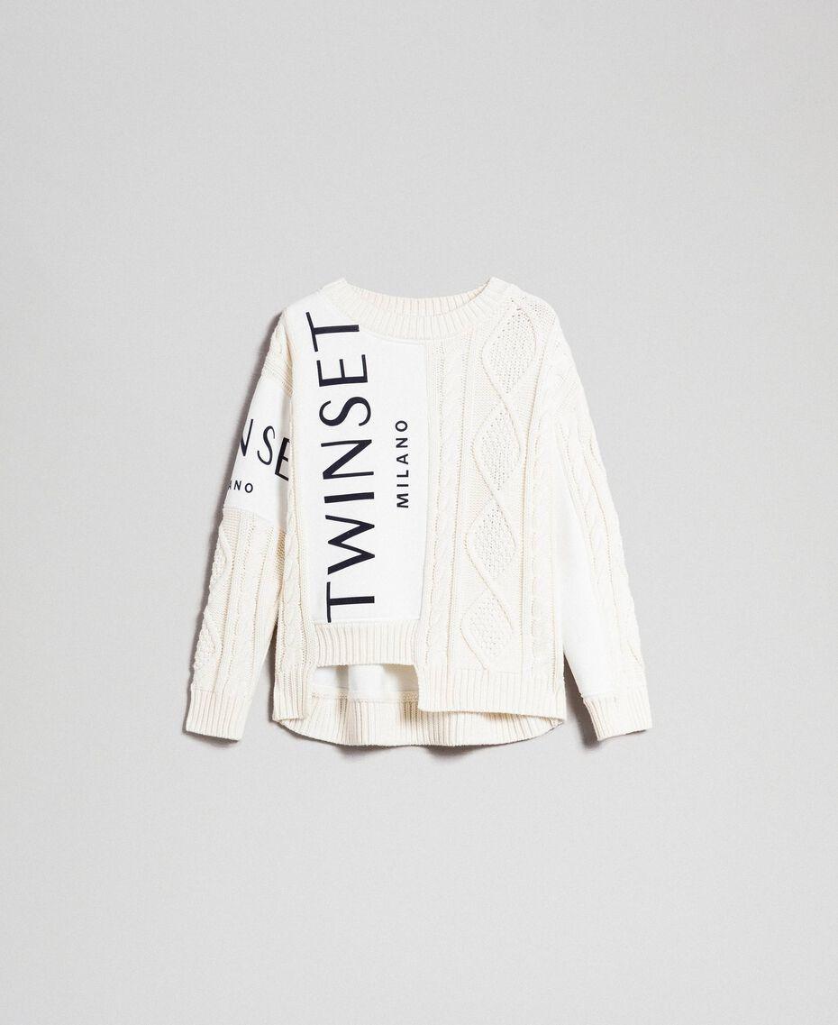 Pull torsadé avec insertions et logo Blanc Neige Femme 192TT3060-0S