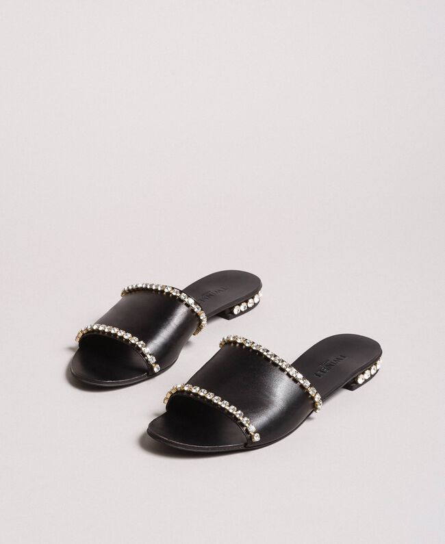 Leather sandals with rhinestones Black Woman 191TCT094-01
