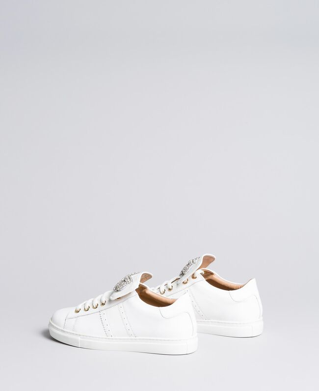 Two-tone leather sneakers with bow patch White Woman CA8PBG-03