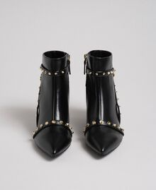 Faux leather ankle boots with studs Black Woman 192MCT050-05