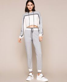 "Cropped jumper with plush inlay and logo Two-tone ""Snow"" White / Melange Grey Woman 201TP3204-02"