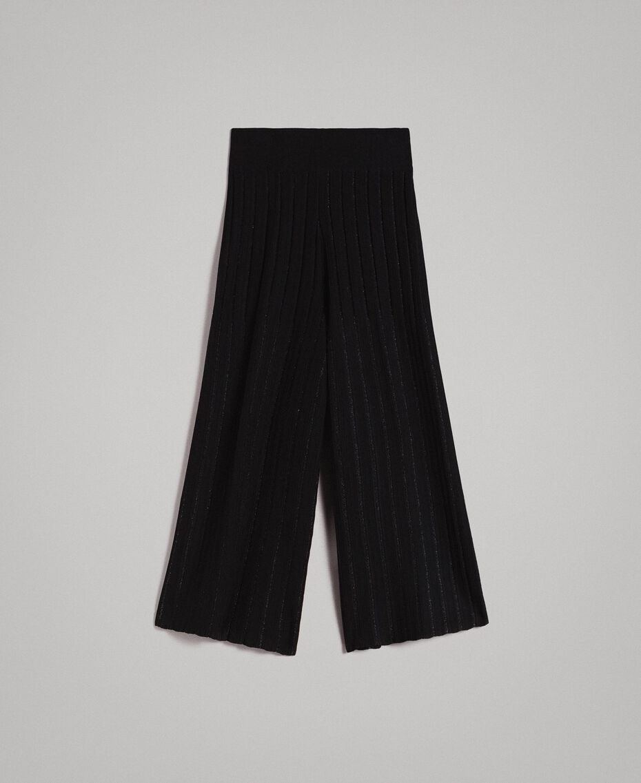 Cropped knit trousers with lurex stripes Black Woman 191TP3251-0S