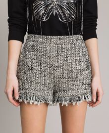 "Fringed tweed shorts Two-tone ""Snow"" White Bouclé / Black Woman 191TP2526-05"