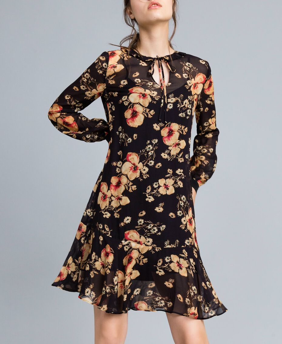 Floral print georgette dress All Over Bouquet Print Woman TA825F-01