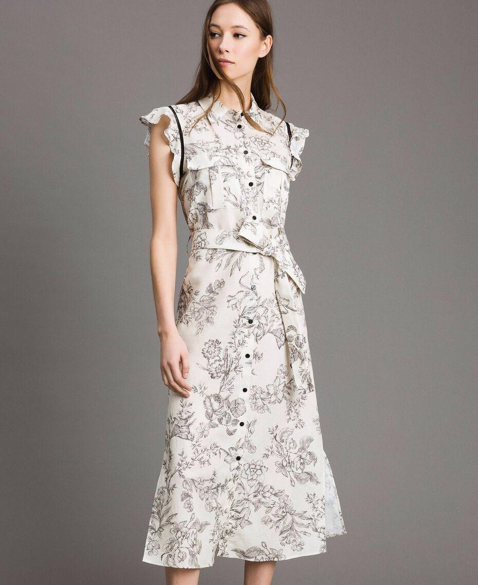 """Льняное платье-рубашка с принтом Чёрный """"Toile De Jouy"""" Принт женщина 191TT2460-01"""