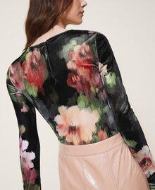 """Body in velluto stampato a fiori Stampa Fiori Nero / Rosa """"Peach Pearl"""" Donna 202TT2360-04"""
