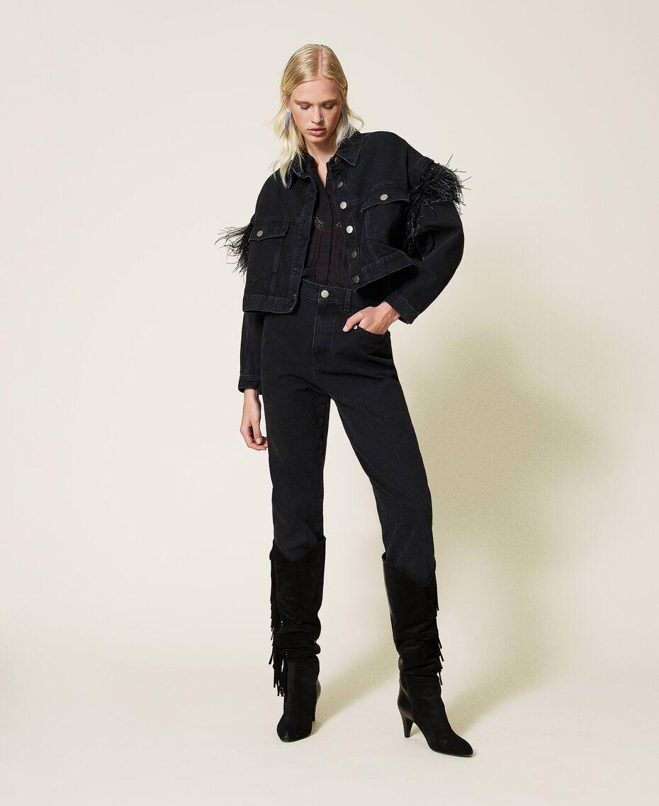 Carrot fit high waist jeans Black Denim Woman 212TP232C-01
