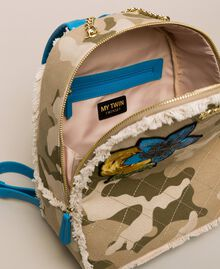 Canvas backpack with patch and fringes Camouflage Print / Vivid Blue Woman 201MO8041-05