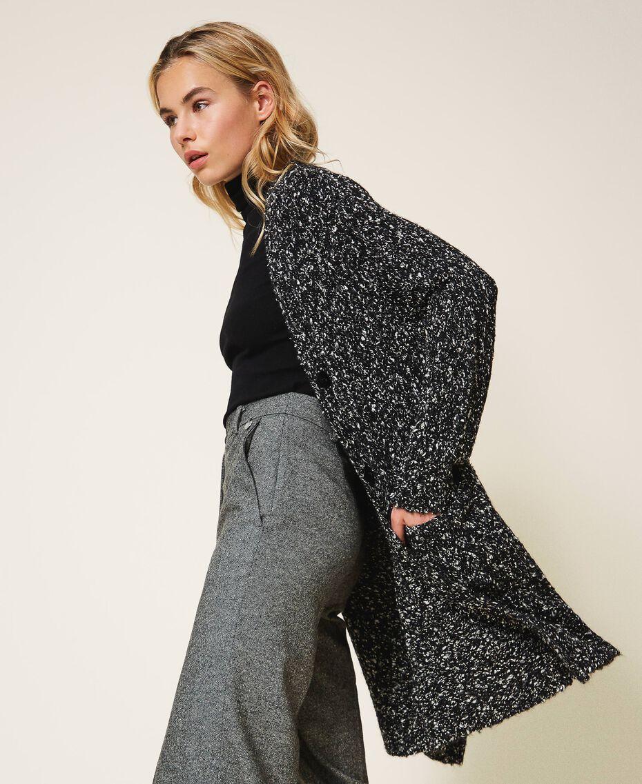 Tweed knit maxi cardigan Magenta Pink Woman 202LI3PFF-02