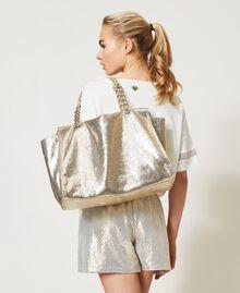 Сумка-шоппер с ламинированным тиснением Принт Питон Золотой Светлый женщина 211LM7ZLL-0S