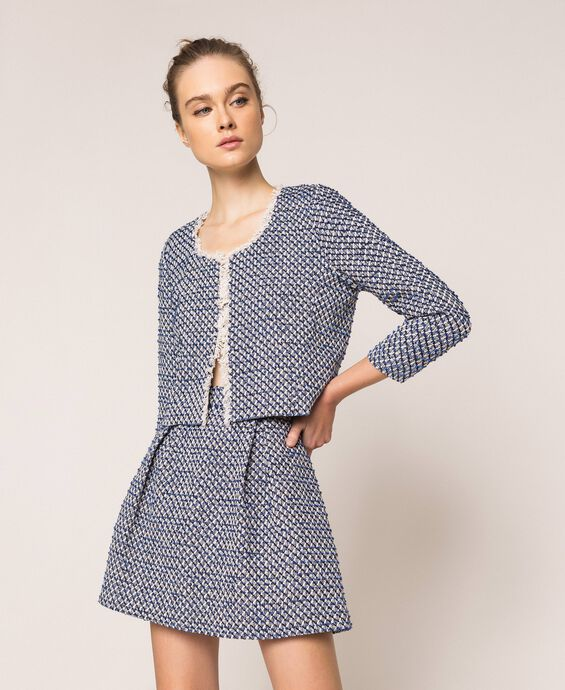 Bouclé jacket with fringe trim