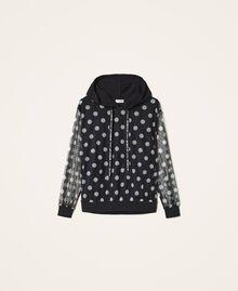 Polka dot tulle and crêpe de Chine sweatshirt Black Polka Dot Print Woman 202ST2063-0S