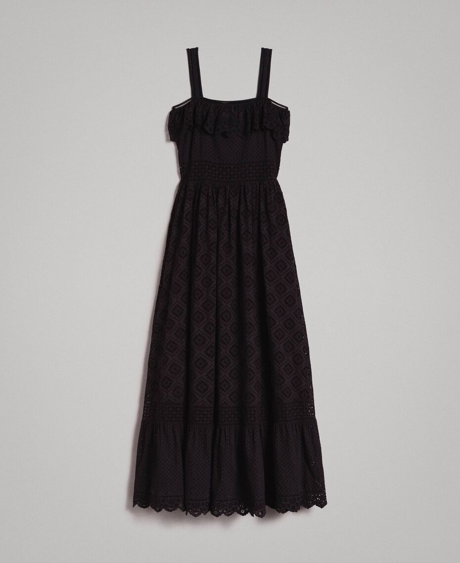 Long dress with broderie anglaise embroidery Black Woman 191TT2043-0S