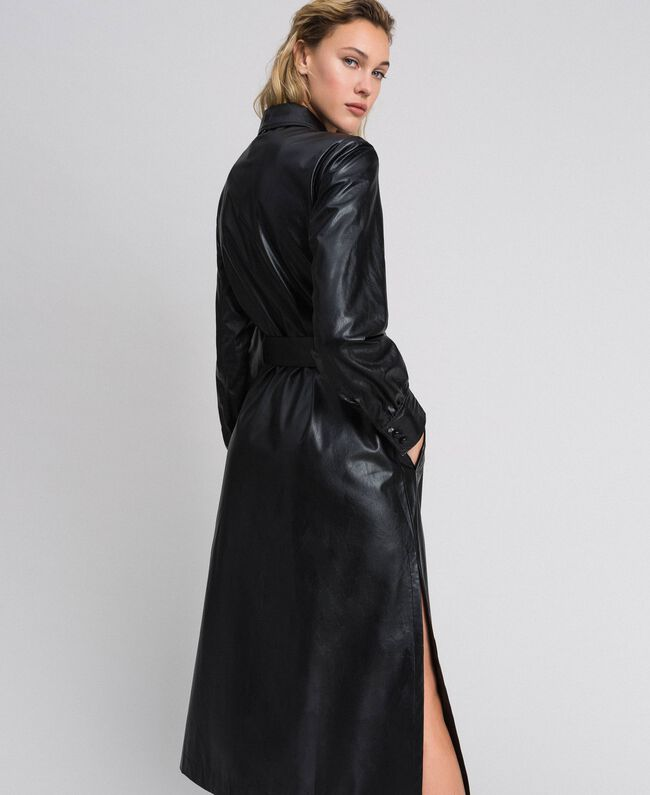 Robe chemisier longue en similicuir Noir Femme 192ST2010-03
