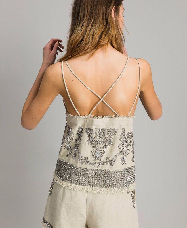 """Top in lino con perline e paillettes Beige """"Sand"""" Donna 191TT2062-03"""