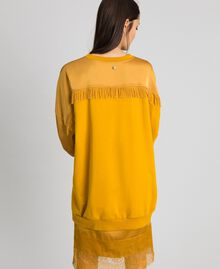 Satin maxi sweatshirt with lace and fringes Saffron Yellow Woman 192MP2271-03