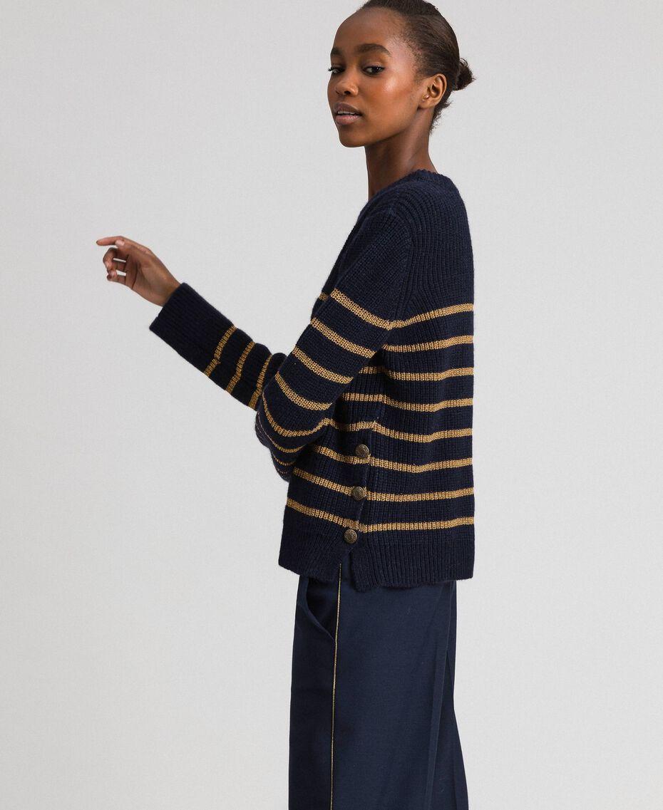 Pullover aus Wollmischung mit Lurexstreifen Streifen Mitternachtblau / Dunkelgold Frau 192TT3360-02