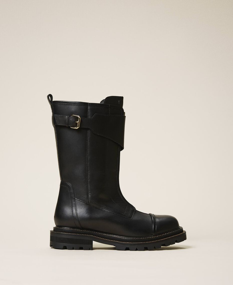 Leather combat boots with strap Black Woman 202TCP180-02
