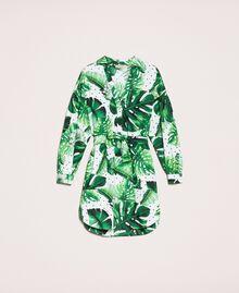 Платье-рубашка из набивного поплина Принт Тропический Горошек Зеленый женщина 201TP2551-0S