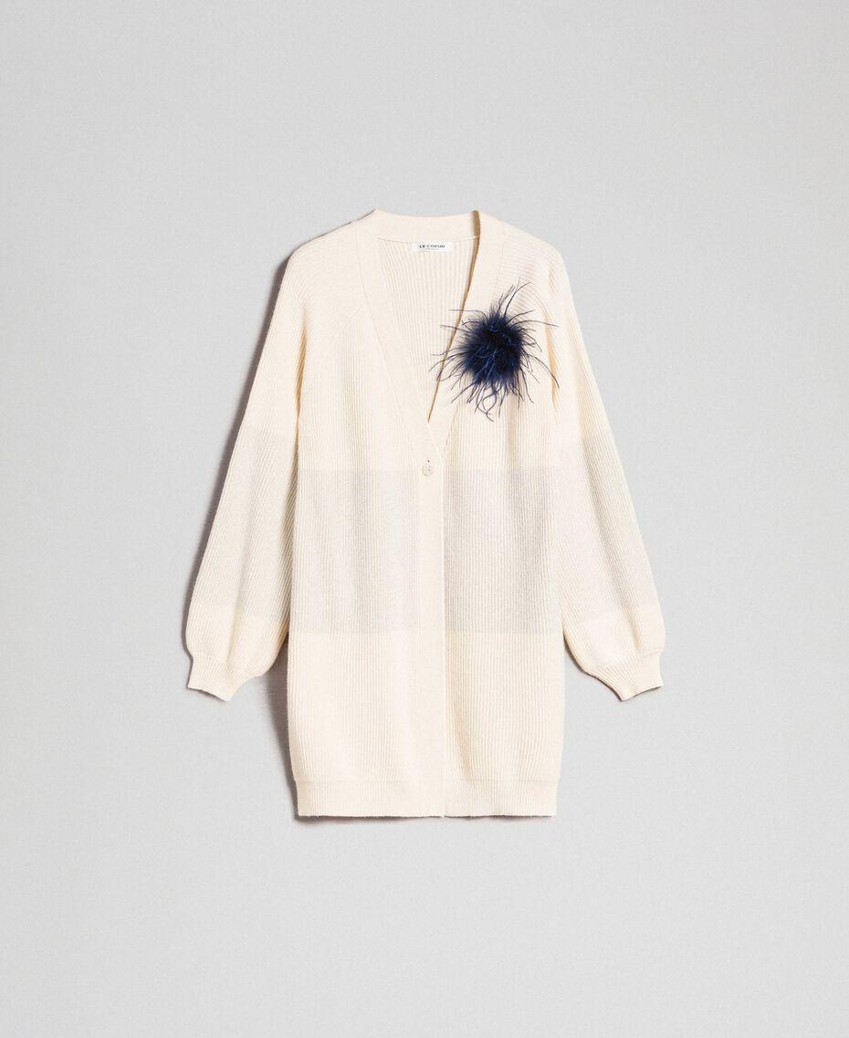 Maxi cardigan avec bande en lurex et broche Rayé Blanc «Crème» / Argent Femme 192ST3081-0S