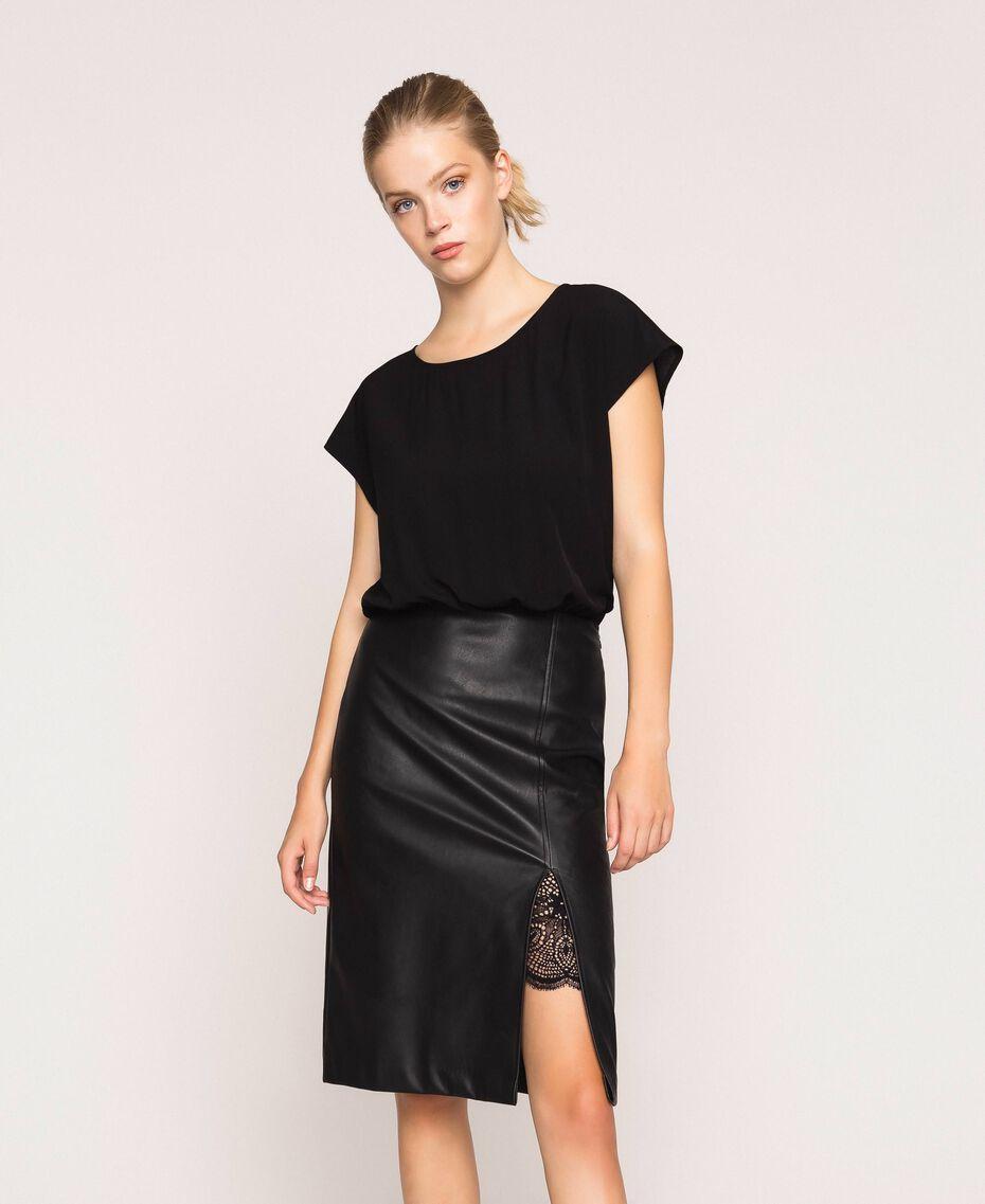 Faux leather and crêpe de Chine dress Black Woman 201TP2122-01