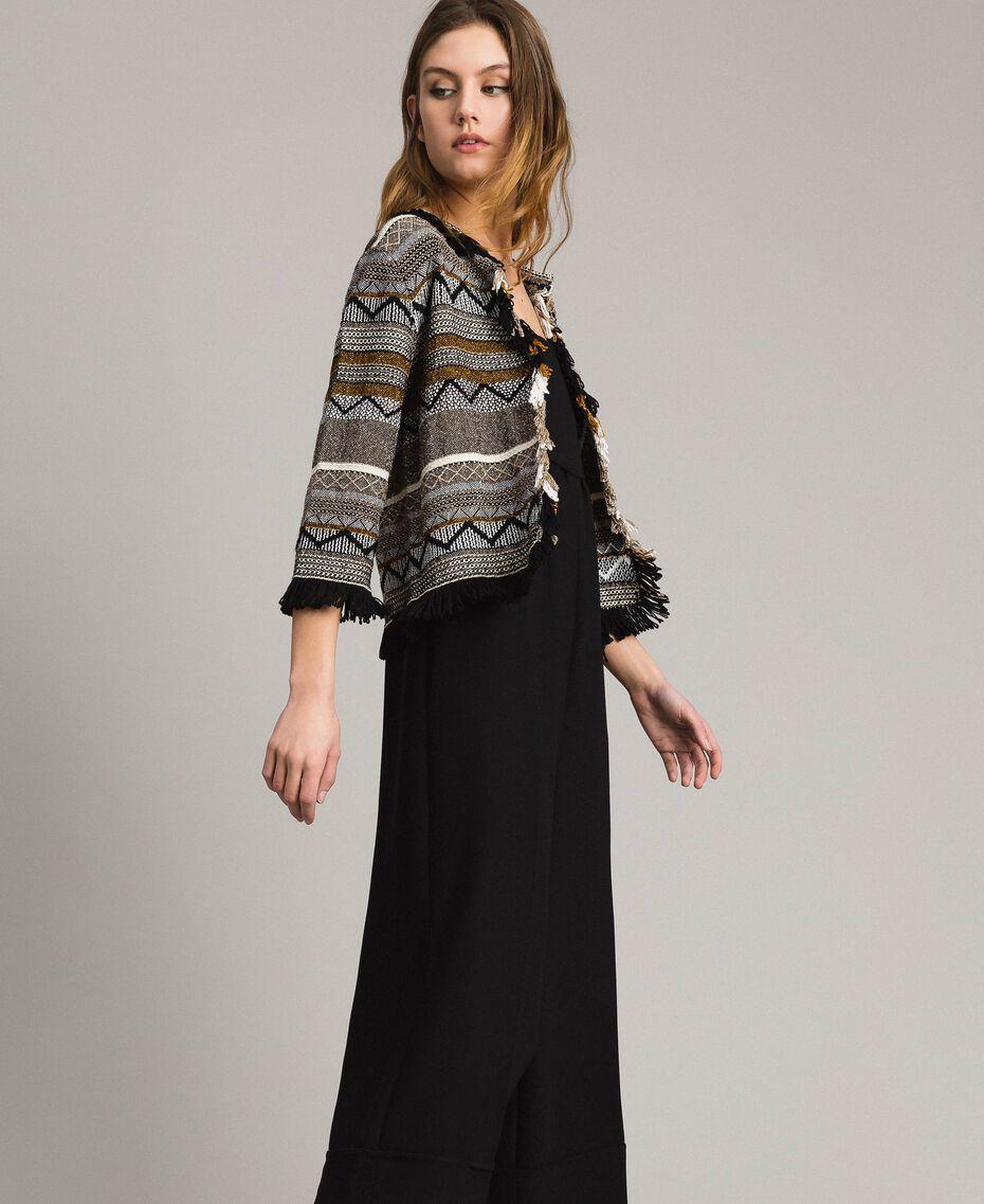 Rundhals-Jacke mit Inlay-Details und Fransen Streifen Multicolour Neutral Grau Frau 191TT3161-02