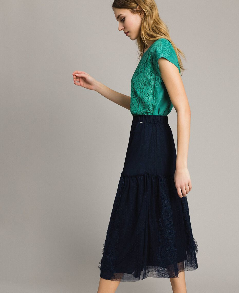 Tulle and lace mid-length skirt Blue Shadow Woman 191ST2072-02