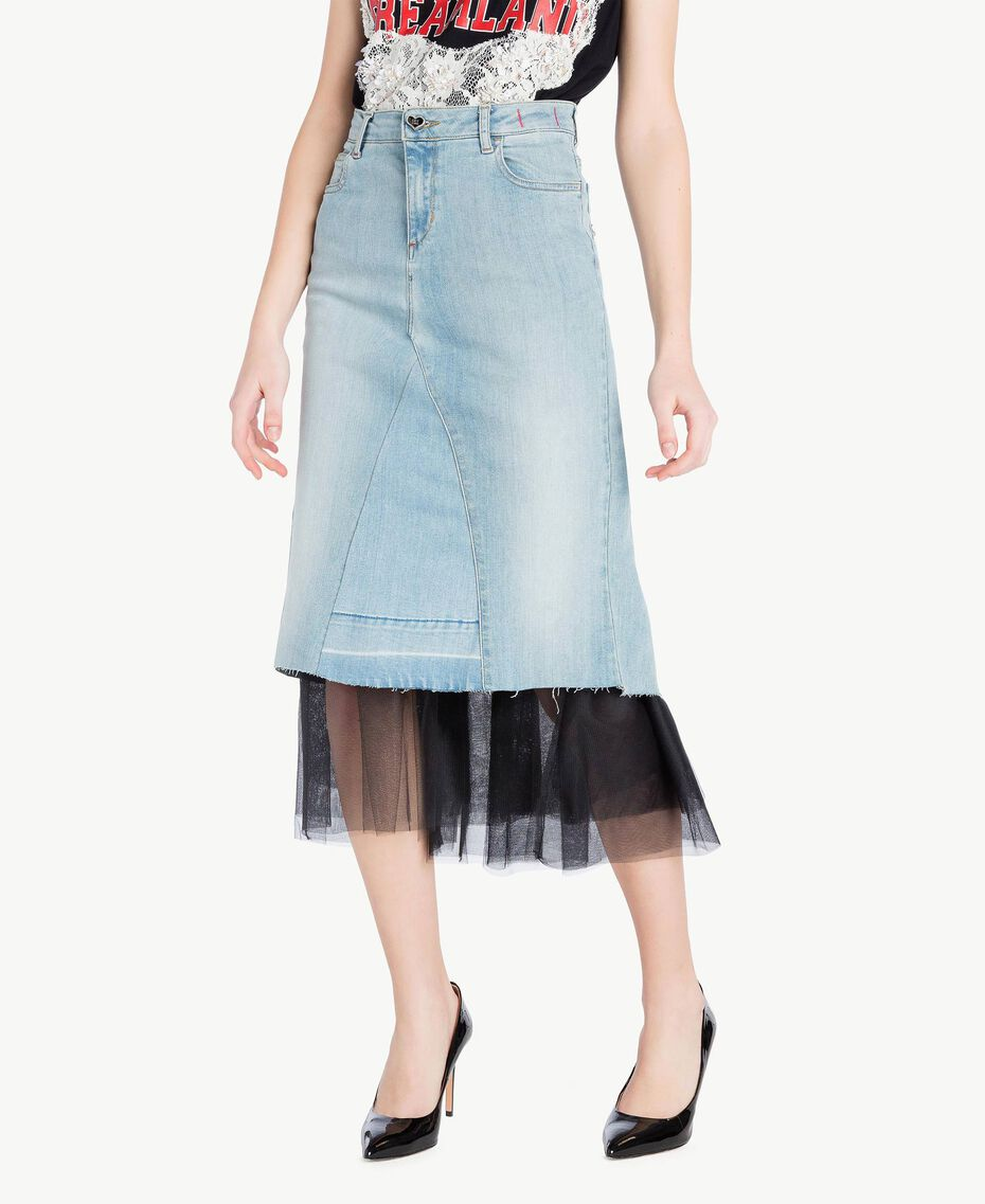 Denim skirt Denim Blue Woman YS82QY-01